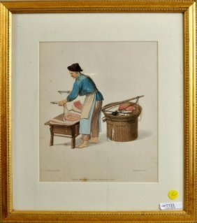 """English Hand Colored Engraving """"chinese Butcher"""""""