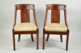 Pair Biedermeier Empire Period Side Chairs