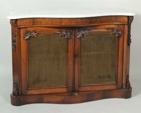 Victorian Marbletop Veneered Two-Door Cabinet