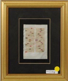 Miniature Illuminated Manuscript Page On Vellum