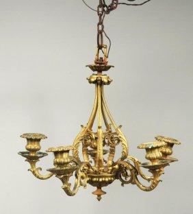 Small Gilt Bronze 5 Light Chandelier