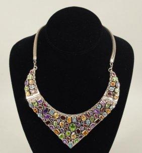 Sterling Silver Multi-Stone Collar
