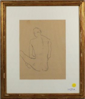 """Charles Henry Demuth """"Male Figure"""" Graphite/Paper"""