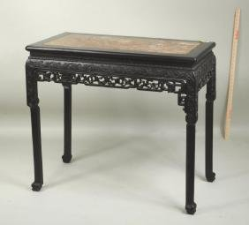Chinese Carved Hardwood Table W/rose Marble Top