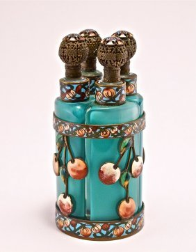1920s Fr. 4-Bottle Enameled Perfume Tantalus