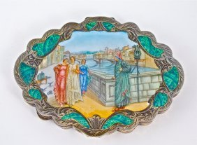 1940s Italian Enameled Silver Compact
