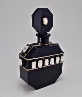 1920s Hoffmann Jeweled Black Czech Bottle