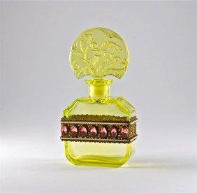 1920s Hoffmann Jeweled Vaseline Czech Bottle