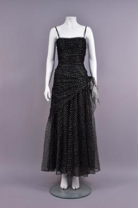 Yves Saint Laurent Couture Metallic Net Evening Dress,