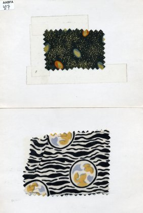 LOT Of CARDED FABRIC SAMPLES, 1890-1959. Printed Sil