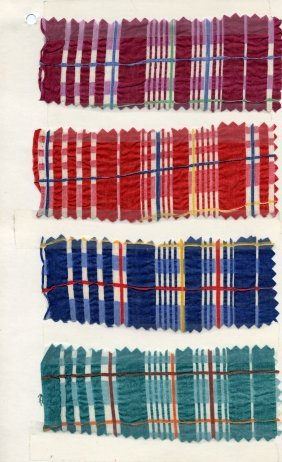 LOT Of CARDED FABRIC SAMPLES, 1900-1970. Plaid, Ombr