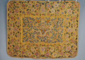 CHINESE EMBROIDERED THRONE COVER, 18th-19th C. Yello