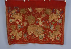 CHINESE EMBROIDERED PANEL, 19th C. Red Wool With Fiv