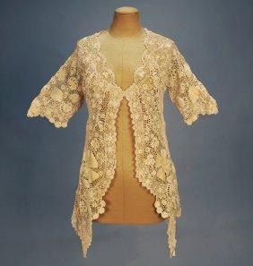 IRISH CROCHET JACKET, C. 1910. Short Sleeve Hip Le