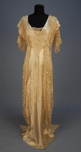 BEADED SATIN And LACE GOWN With HOBBLE SKIRT, C. 1