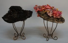 TWO WIDE BRIM HATS With SEQUINS, C. 1900. Both Wit