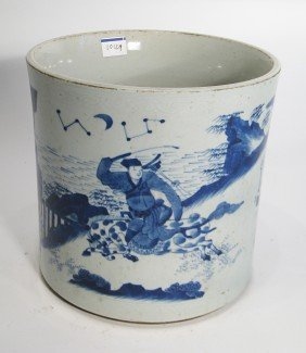 Antique Blue And White Porcelain Brush Pot