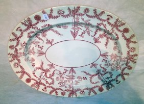 Red And White Glazed Oval Serving Platter