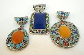 Three Pieces Of Enamel Jewelry/pendants