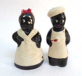 Salt And Pepper Black Folk Art Chef And Server