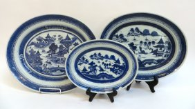 Three Cantonese Oval Serving Platters