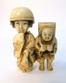 19th C Japanese Ivory Netsuke With Movable Head