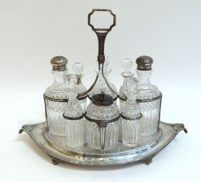 Sterling And Crystal Vinegar Cruet Set