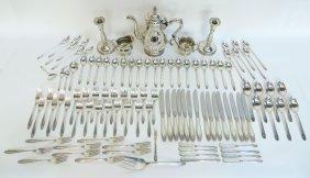 Sterling Flatware, Tea Set & Candlesticks