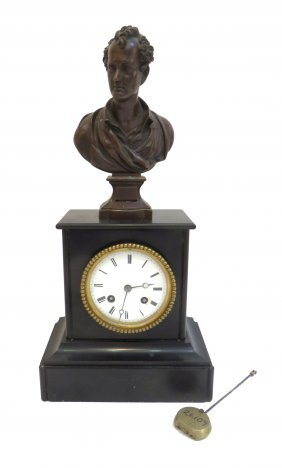 19th Clock With Lord Byron Bronze By A. Weygand