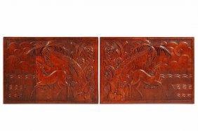 L�ON JALLOT (1874-1967) Pair Of Decorative Panels I