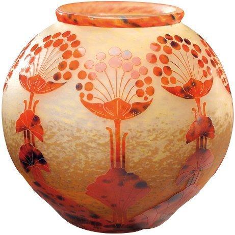 33 le verre francais grand vase boule col ourl en v lot 33. Black Bedroom Furniture Sets. Home Design Ideas