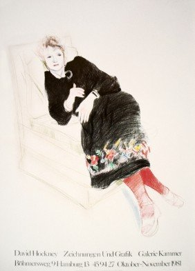 Hockney Celia In Black Dress W/ Colored Border