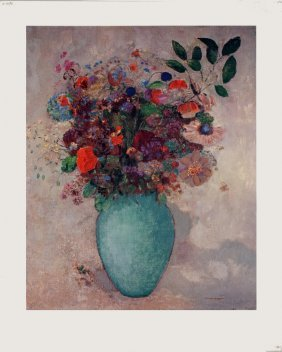 Redon Flowers In Turquoise Vase Poster