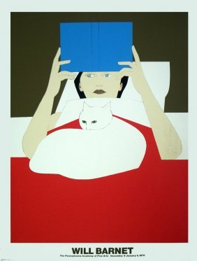 1970 Barnet Woman Reading Serigraph
