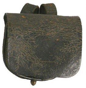 Civil War Black Leather Cap Box