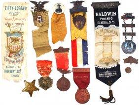 Lot Of 12 Civil War GAR Badges