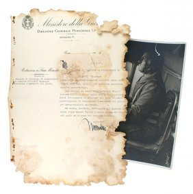 Mussolini Photo Signed Document