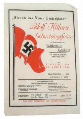 Adolf Hitler Birthday Party New York City Flyer