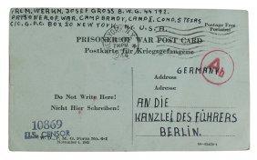 German Pow Postcard Sent To Hitler