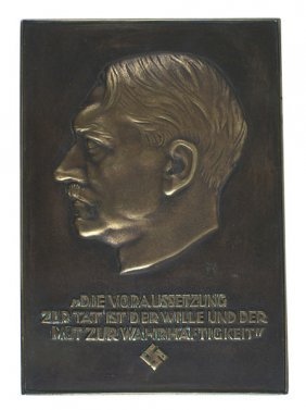 German Wwii Bronze Award Plaque Hitler
