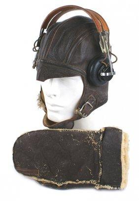 U.s.a.a.f. Wwii Crew Member Lot Helmet Earphones
