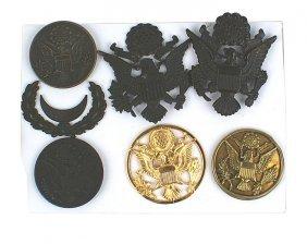Lot Of 7 U.s. Wwi Era Cap Badges