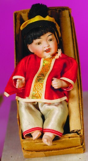 RARE GERMAN ALL-BISQUE CHARACTER PORTRAYING CHINESE