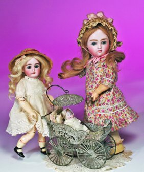 FANCY FILIGREE MINIATURE BUGGY WITH BISQUE DOLL.  5
