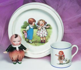 DOLLY DINGLE CUP & PLATE BY BUFFALO POTTERY.  7 �""