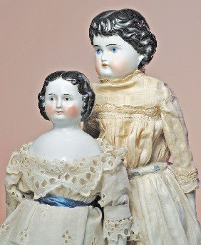 """GERMAN CHINA DOLL WITH ROUND FACE.  18"""".  Porcelain"""