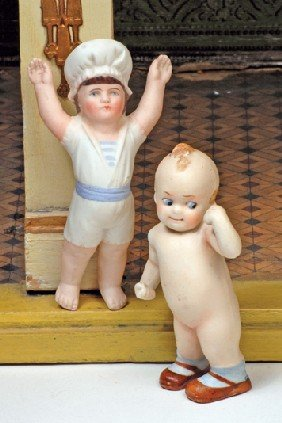"TWO GERMAN ALL-BISQUE DOLLS.  (1)  4 �"" Molded One"