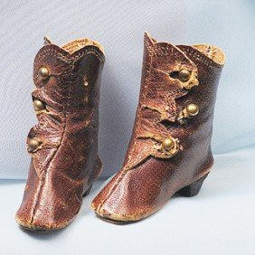 PAIR OF BROWN LEATHER FASHION DOLL BOOTS