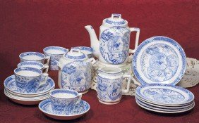 BLUE AND WHITE DINNERWARE SET.  Marks: No. 766/ R #
