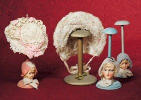 "THREE DOLL HAT STANDS.  9 �"" To 10"".  Each Is Woode"